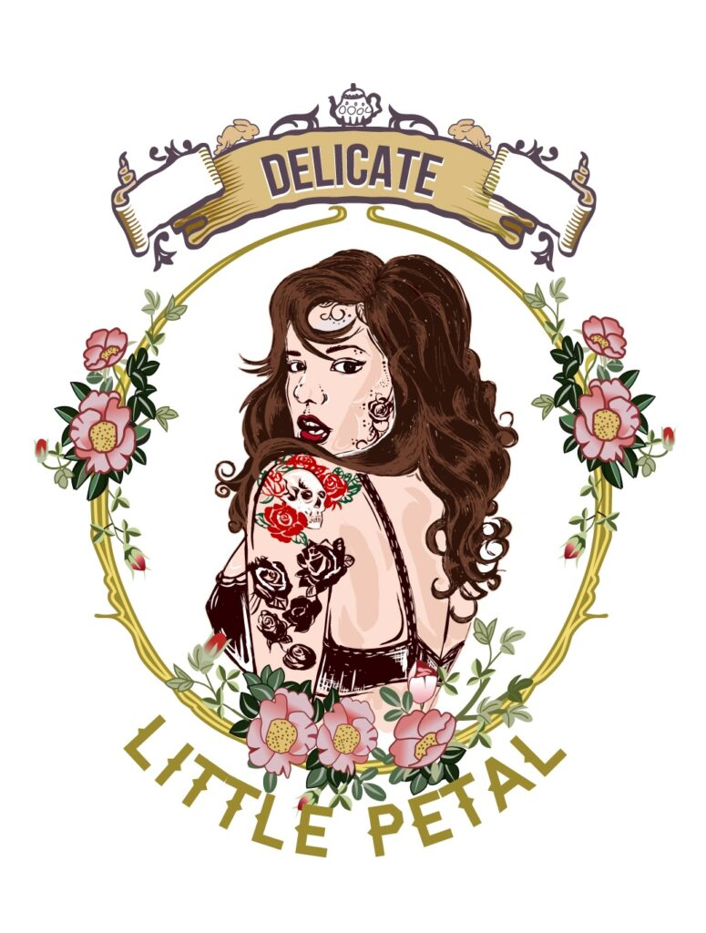 """An animation of a dark-haired pin up model, looking back over her shoulder at the viewer. She has roses and a skull tattooed on her left shoulder and she is framed by the words """"Delicate Little Petal."""""""